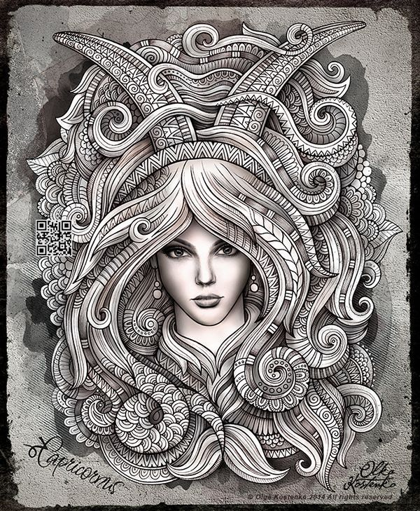 Zodiac capricorn by olka kostenko on behance adult for Capricorn coloring pages