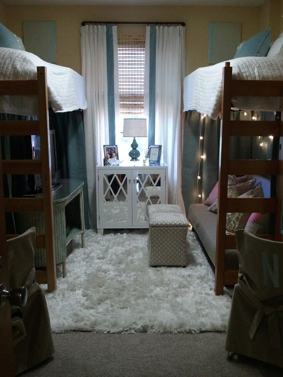 """This was titled """"Dorm Room."""" Never in my 8 years of higher ed experience has a dorm room ever looked this nice. Way to set the expectations Pinterest. Well played!"""