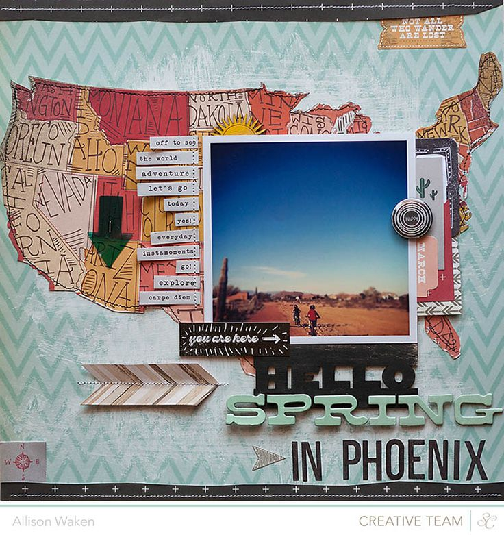"""Not all who wander are lost"" ~ Map, Location Visited Arrow, Picture!  ~ Scrapbook, Journal, Travel Journal, SMASH book"