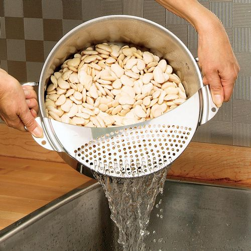 Stainless-Steel Pour-Off Sieve Handled-sieve fits over pots to drain water from cooked pasta or vegetables. $15.95