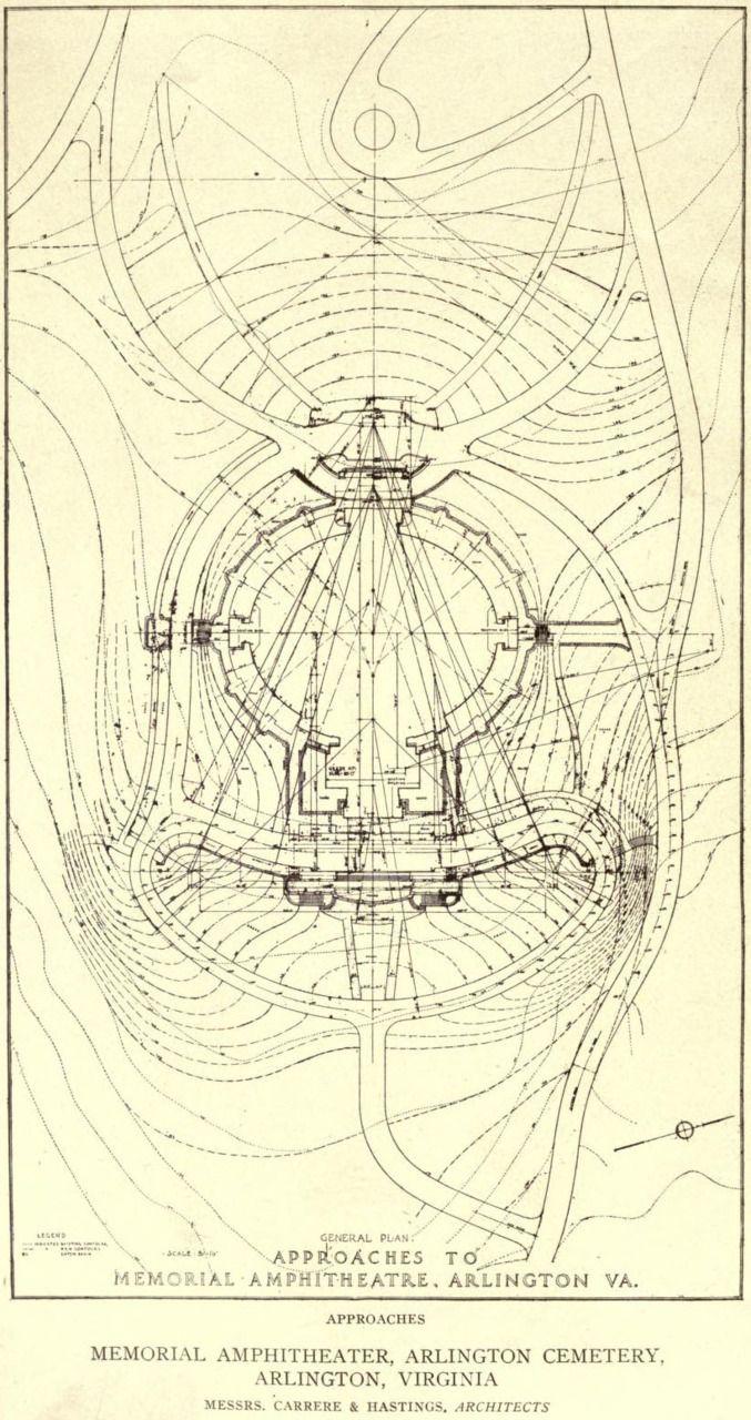 Plan of approaches to the Memorial Amphitheatre at Arlington Cemetery in 1917, Arlington