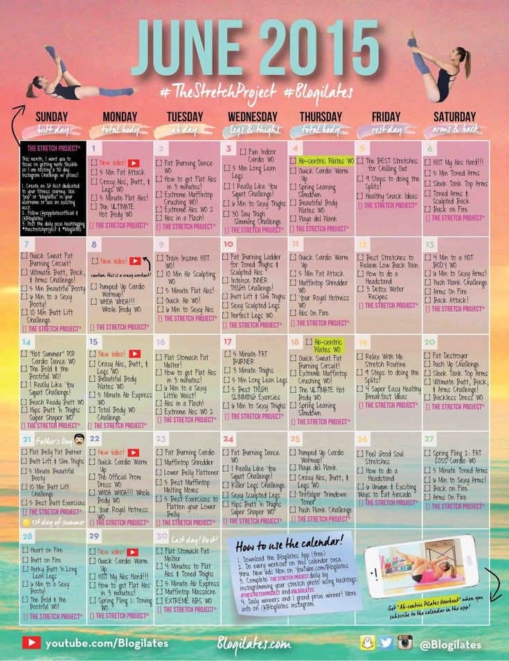 June Calendar Ilates : June workout calendar sign up for newsletter the pw