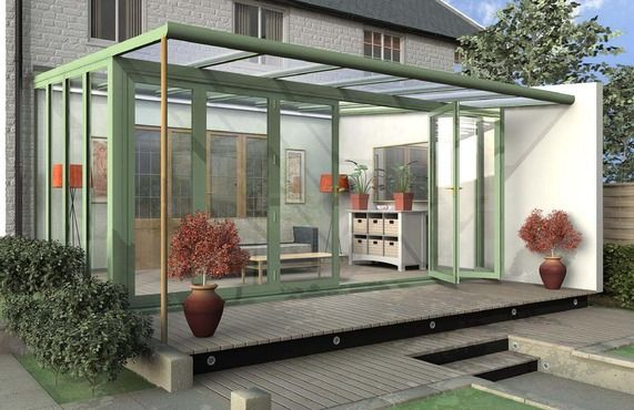 Contemporary or modern glass sunroom, conservatory, garden room addition.
