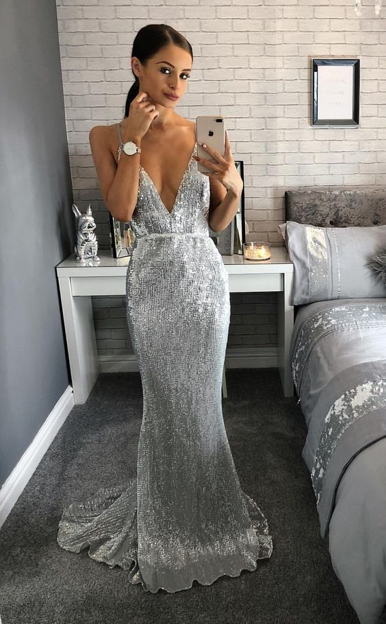 Gorgeous Mermaid V Neck Backless Silvery Sequins Long Prom Dresses with  Train 83f3deffbd35