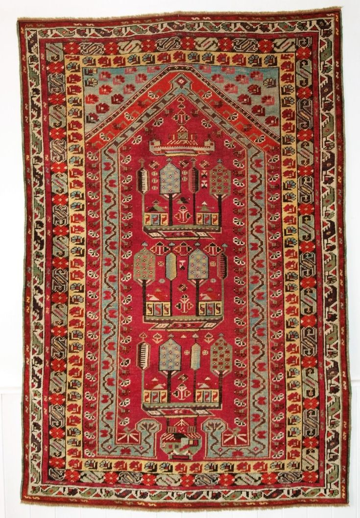 Antique Anatolian Kirsehir village prayer rug Size: 5ft 7in x 3ft 8in (170 x 113cm). 2nd half 19th century.