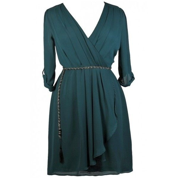 Off The Chain Surplice Chiffon Wrap Dress in Teal- Plus Size ($40) ❤ liked on Polyvore featuring dresses, blue plus size dress, chiffon cocktail dresses, women's plus size dresses, womens plus size cocktail dresses and blue wrap dress