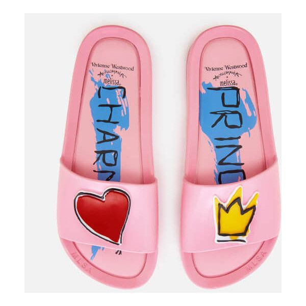 Vivienne Westwood for Melissa Women's Charming Beach Slide Sandals -... ($135) ❤ liked on Polyvore featuring shoes, sandals, pink, melissa shoes, pink slide sandals, melissa footwear, beach footwear and pink flat shoes
