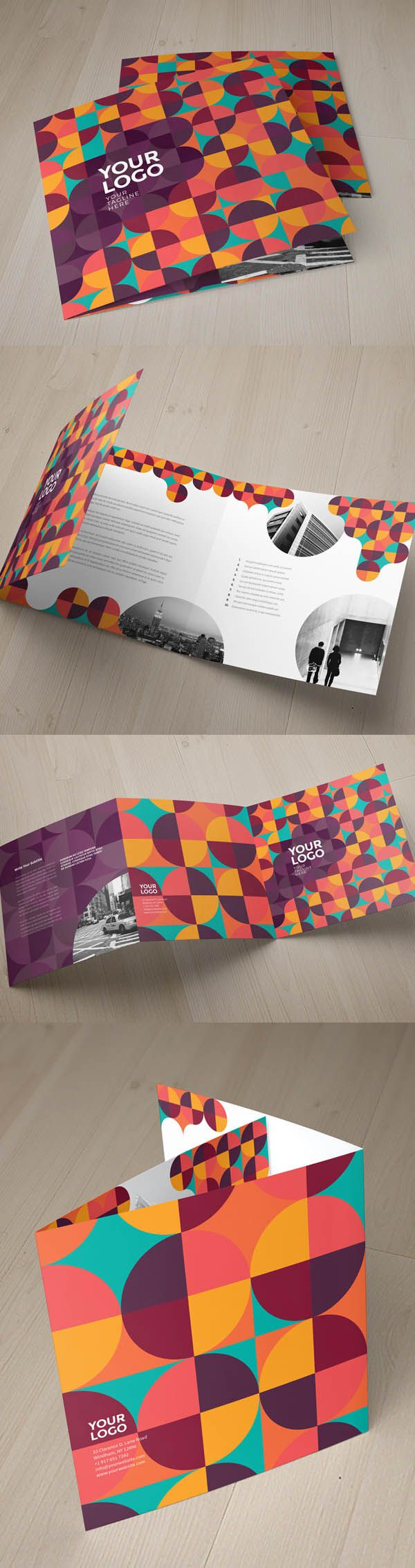 Square Colorful Pattern Tri-Fold Brochure Template