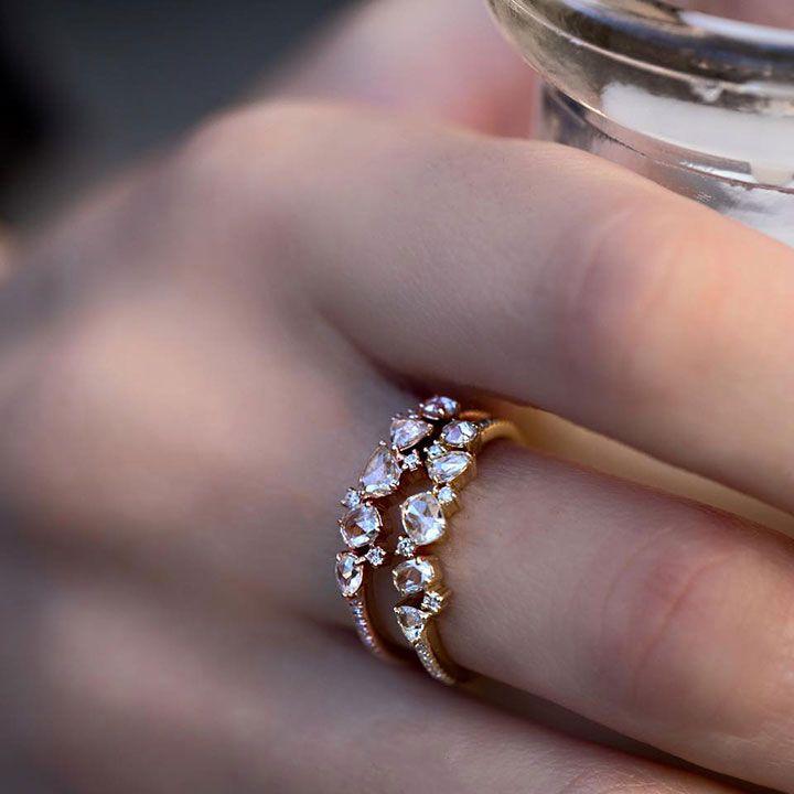 14k Rose Cut Diamond Cluster Ring ~ we ❤ this! moncheribridals.com