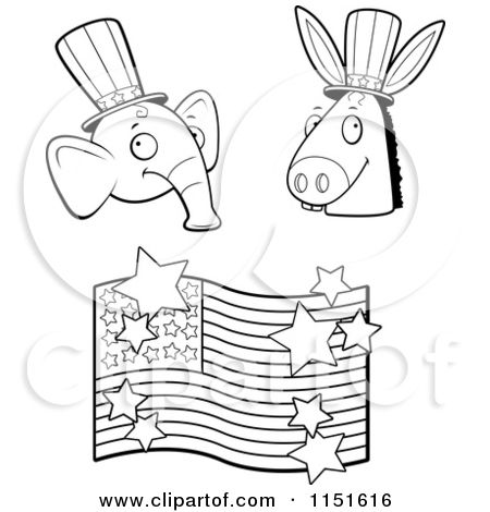 1151616 Cartoon Clipart Of A Black And White Political Cartoons