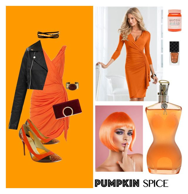 """Pumpkin Spice"" by jessicaadawn on Polyvore featuring Burt's Bees, Venus, Jean-Paul Gaultier, Lanvin, Kenneth Jay Lane, Christian Louboutin, Jessica McClintock, Orduna Design, Lime Crime and Gucci"
