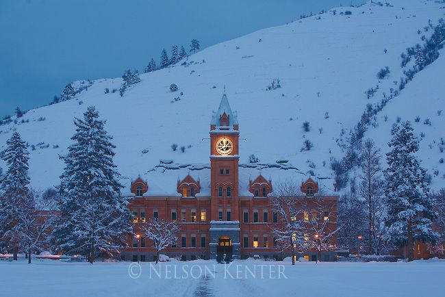 Main Hall at dawn on the University of Montana campus in Missoula www.visionsofbliss.biz
