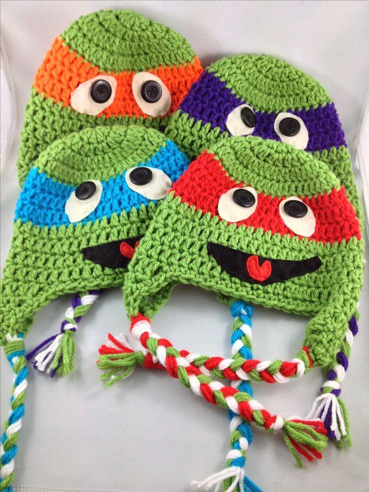 Crochet ninja turtles beanie hat kids