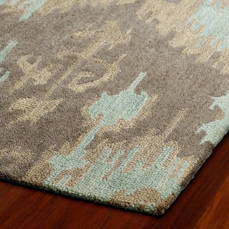 Hand Hooked Gray And Gold Ikat Rug Home Decor
