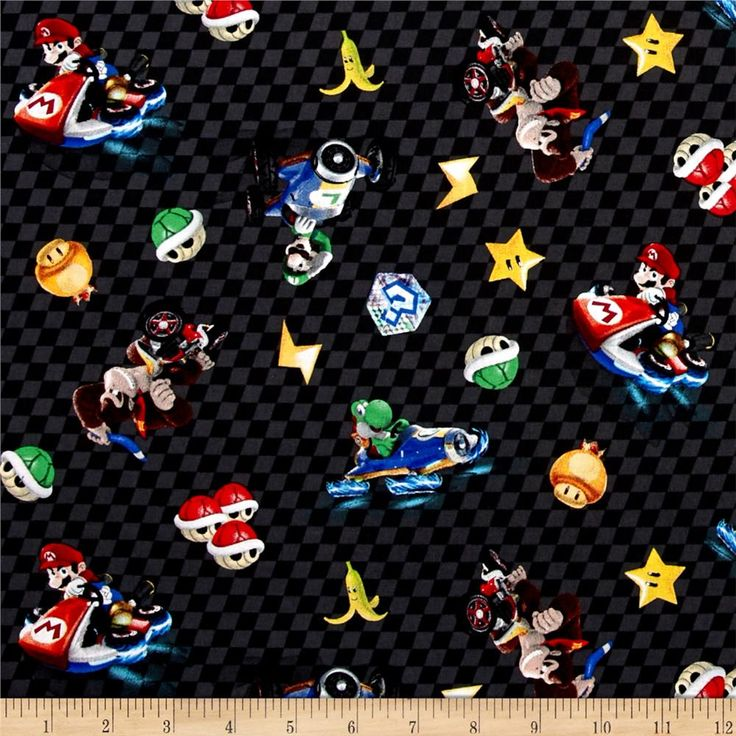 Nintendo Mario Kart 8 Character Checkered Toss Black from @fabricdotcom  Licensed by Nintendo to Springs Creative Products, this cotton print is perfect for quilting, apparel and home décor accents. Colors include blue, red, black, brown, yellow, white and cream. This is a licensed fabric and not for commercial use.