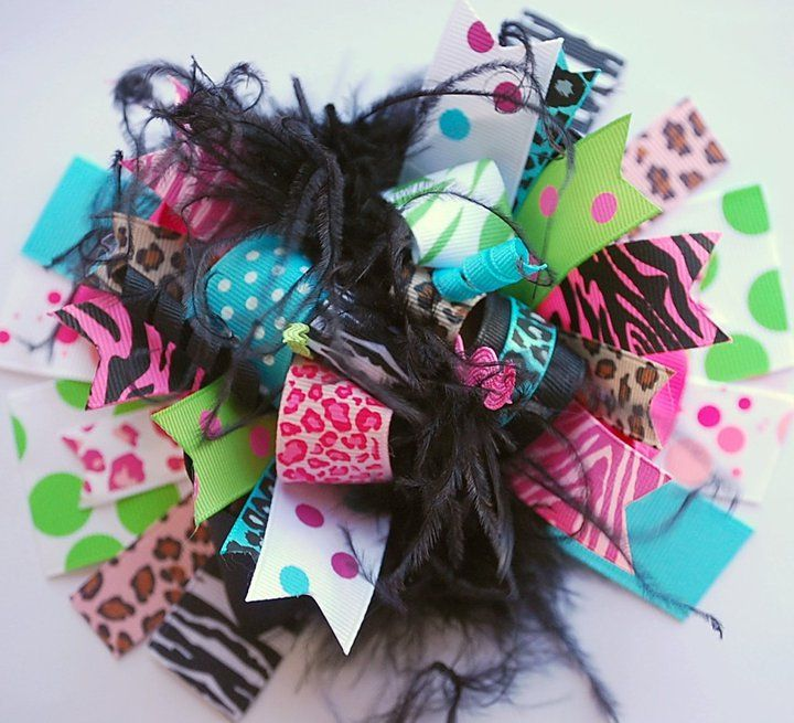 Girls Accessories :: Hair Bows :: Wild Child Over the Top Bow - Little girls boutique, baby girl clothes, toddler clothing, kids accessories.   Tutu Spoiled
