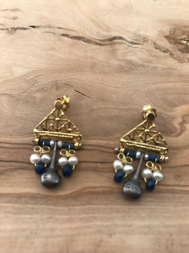 Hittite style Earrings  silver&goldplated with pearl and saphire stones