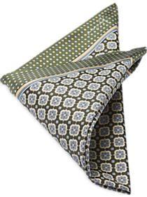 Joseph Abboud Green & Ivory Medallion Pocket Silk