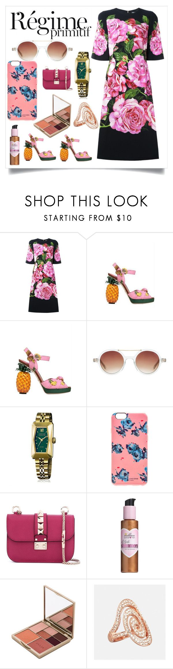 """big sale offer"" by denisee-denisee ❤ liked on Polyvore featuring Dolce&Gabbana, Dsquared2, Komono, March LA.B, Marc Jacobs, Valentino, Million Dollar Tan, Stila, Avenue and Anja"
