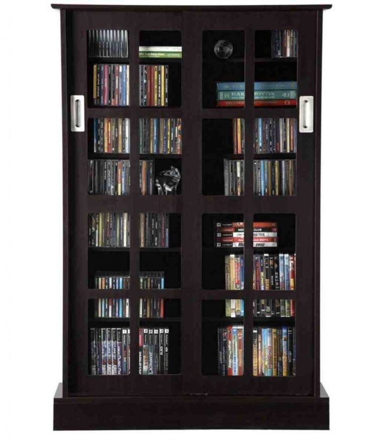 atlantic windowpane 576 cd or 192 dvd bluray games cabinet with sliding glass doors espresso brown - Cabinet With Glass Doors