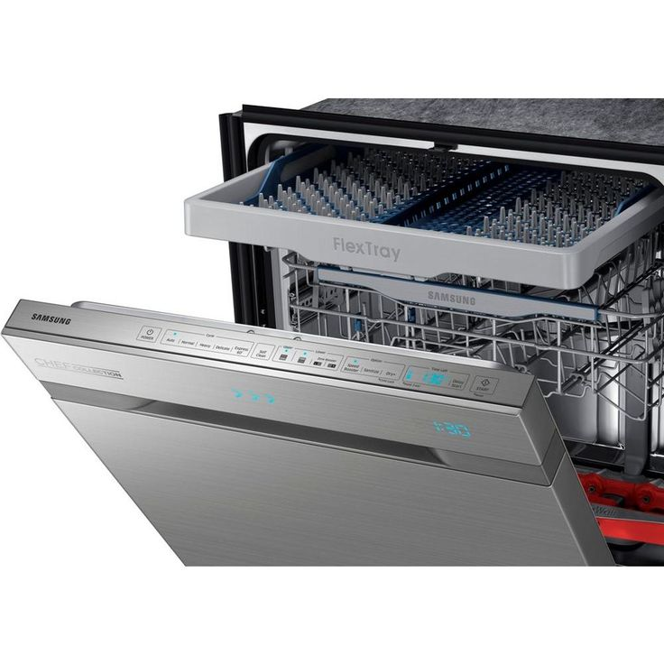 Samsung CHEF Collection Top Control Dishwasher in Stainless Steel with Stainless Steel Tub and WaterWall Wash-DW80H9970US at The Home Depot