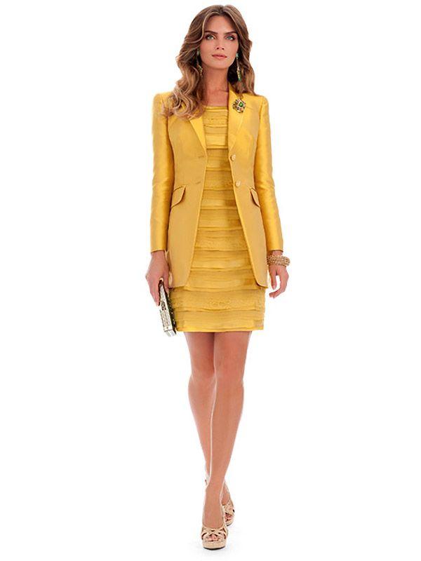 Tubino giallo con giacca Luisa Spagnoli 2014
