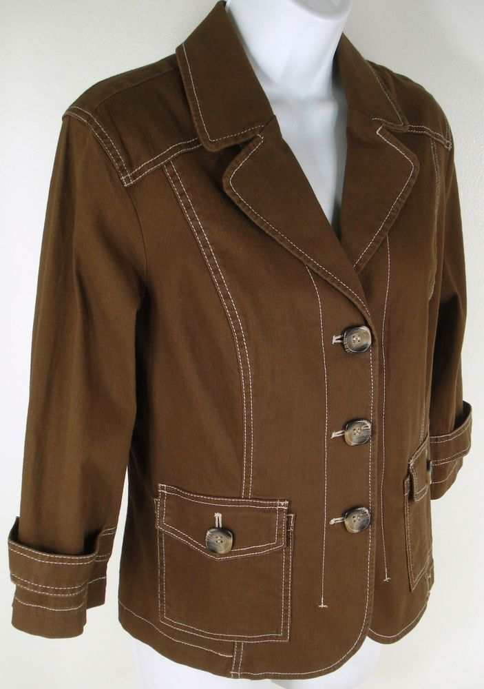 NWT Coldwater Creek Jacket Size P14 14P Brown Contrast Stitch Stretch Fitted #ColdwaterCreek #BasicJacket
