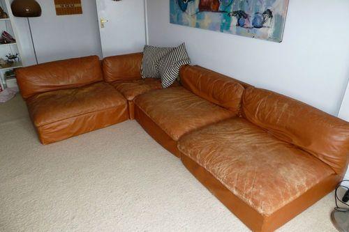 Vintage Zanotta Tan Leather 70 S Sectional Sofa Ebay