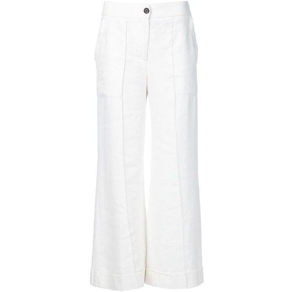Raquel Allegra cropped flared trousers ($780) ❤ liked on Polyvore featuring pants, capris, white, flared trousers, flare pants, white flared trousers, white pants and flared pants