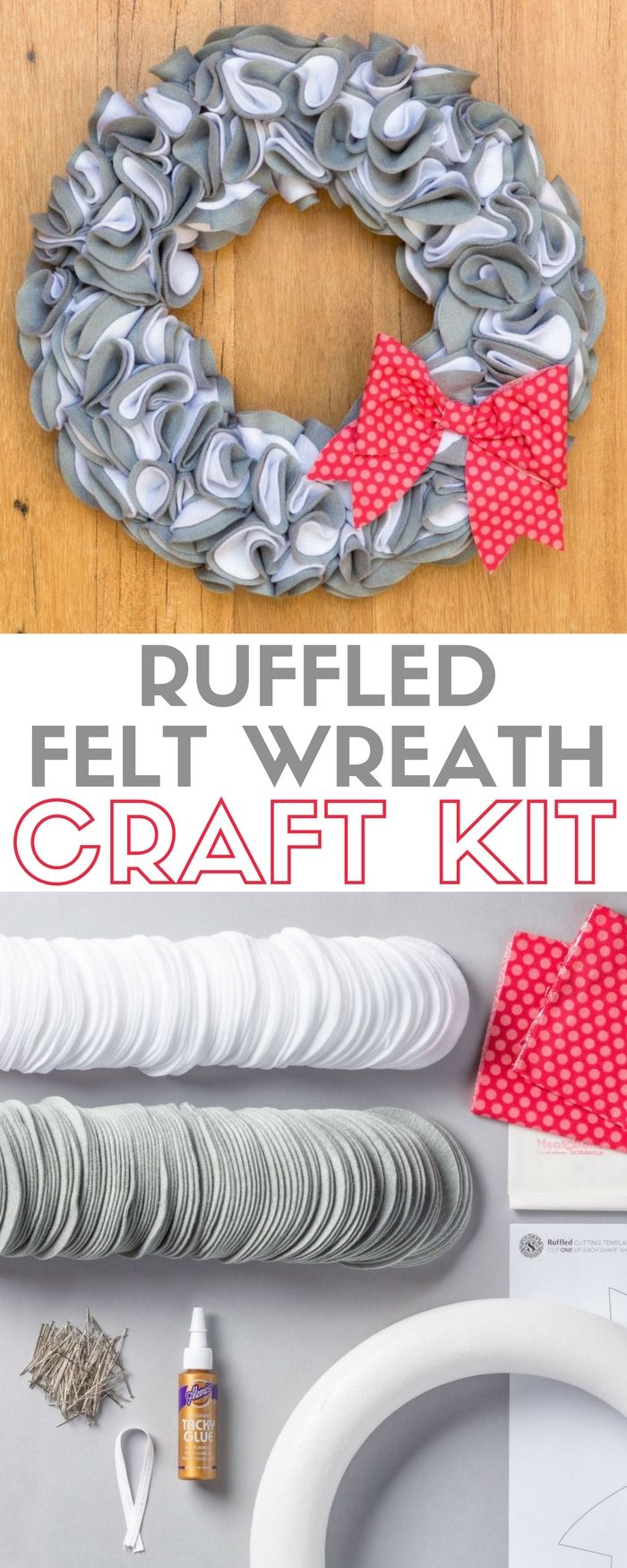 Ruffled Felt Wreath | Apostrophe S Craft Kit | For the Front Door |  DIY |  How to Make