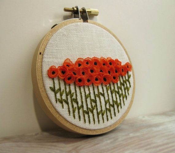 Orange Poppy Embroidery Hoop Art - Ribbon Poppies on White Linen Hand Stitched by Sidereal