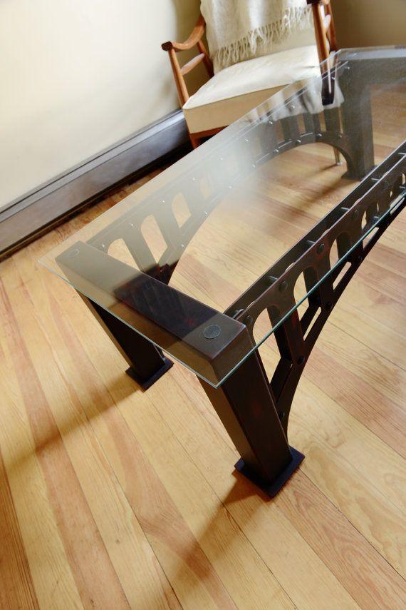 custom metal u0026 glass coffee table by on etsy