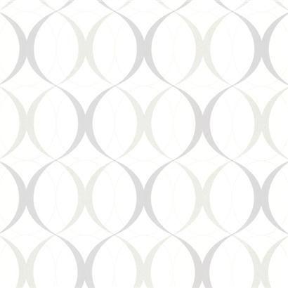 450-67352 White Retro Orb - Circulate - Beacon House Wallpaper