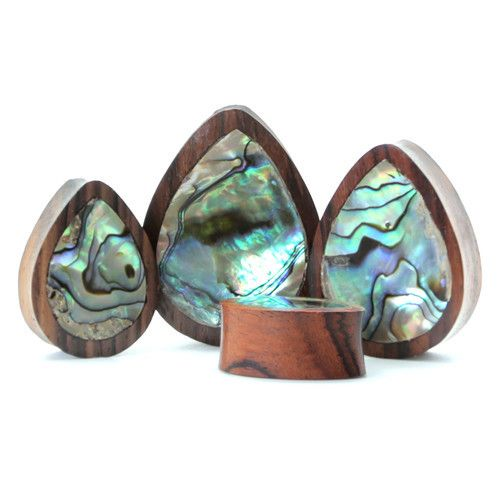 """Size 2"""", Slayden won't be able to pull these out and they're beautiful! Abalone Teardrop Plug 