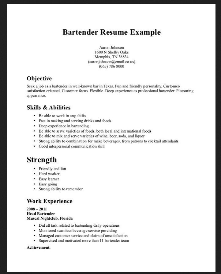 Free Bartender Resume Templates | Free Resume And Customer Service