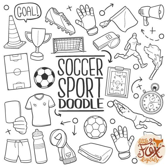 Soccer Football Sport Doodle Icons Game Clipart Scrapbook Etsy Doodles Doodle Icon Hand Art Drawing