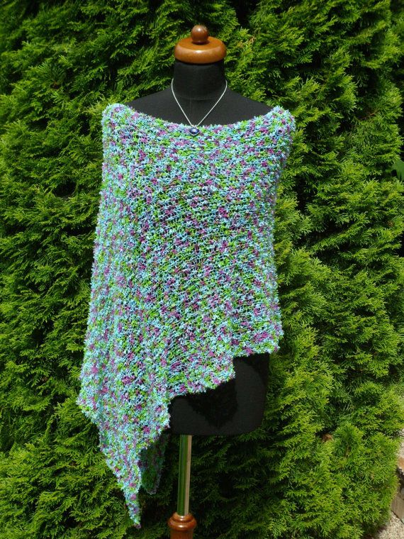 ☺✯ Light weight Poncho, Loose knit weave poncho, Multi #Sparkle Turquoise... Discover http://etsy.me/2haGlQj