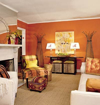 tangerine orange living room with white furniture, love the use of color!