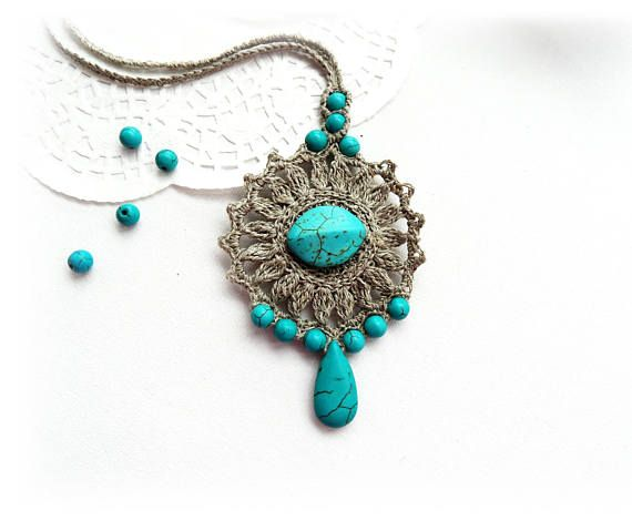Crochet Necklace  Natural Linen Necklace  Linen Turquoise