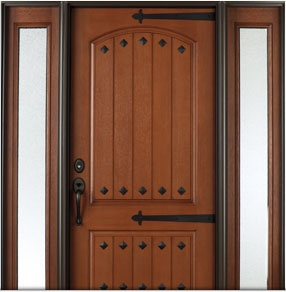 Architect Series Rustic fiberglass entry door with clavos and straps. Visit us on Facebook to  sc 1 st  Pinterest & 15 best strap hinges images on Pinterest | Wrought iron Door ...