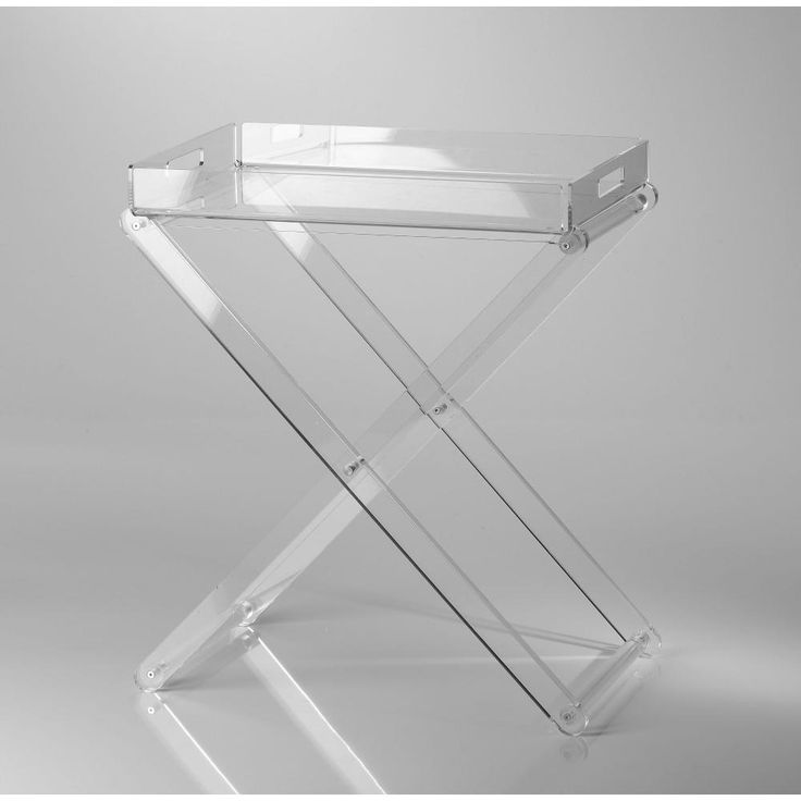 Pliant pieghevole con vassoio 47x30x56h in Plexiglas trasparente | Vesta | Stilcasa.Net: Carrelli Portavivande