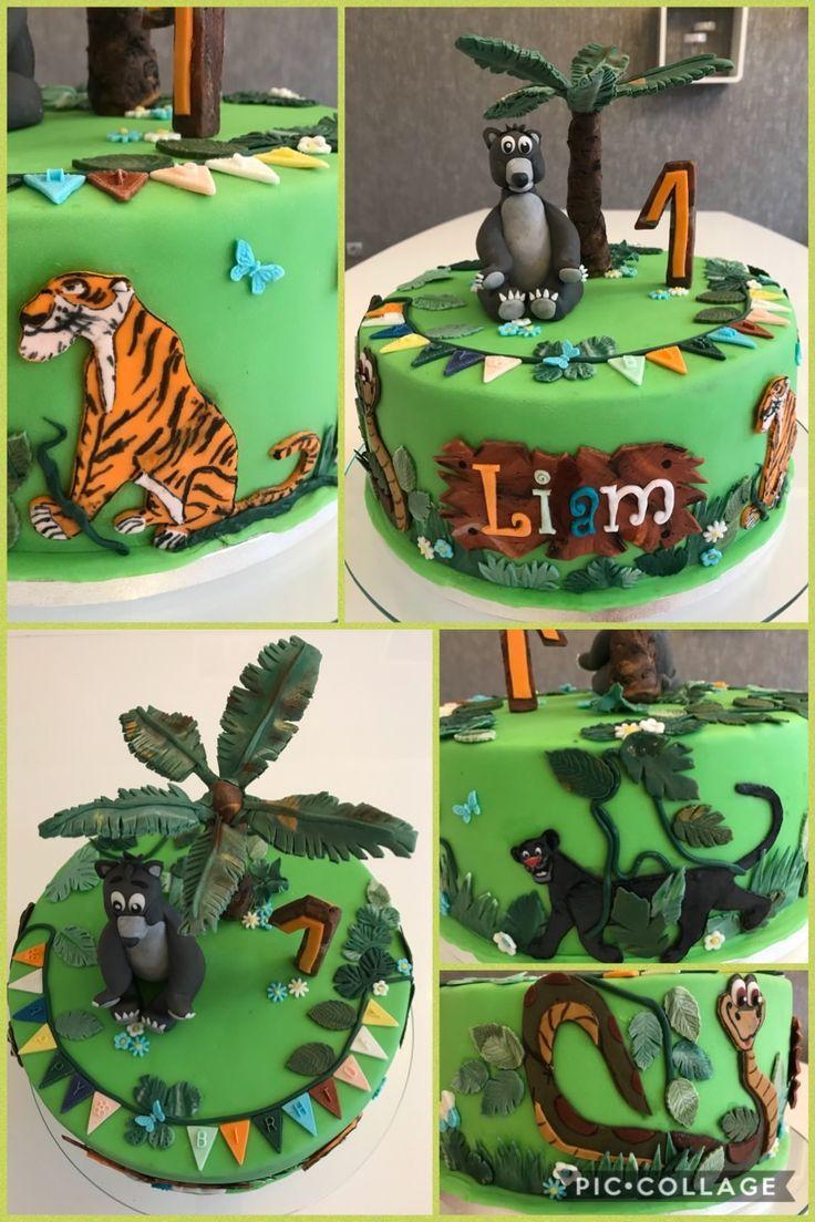 JungleBook cake#jungelbuchtorte#fondant/baghira/shirkhan/baloo/1stBirthday boy#torte einjahr junge#beautiful cake idea