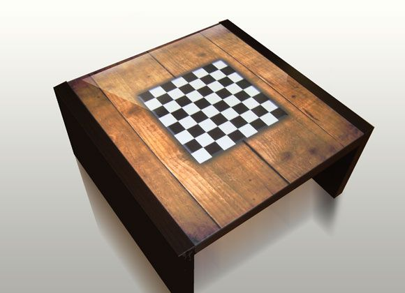 A Handy Chess Table With An Imprinted Of A Chess Board On The Actual Table  Itself. The Only Thing Needed Are Chess Pieces.