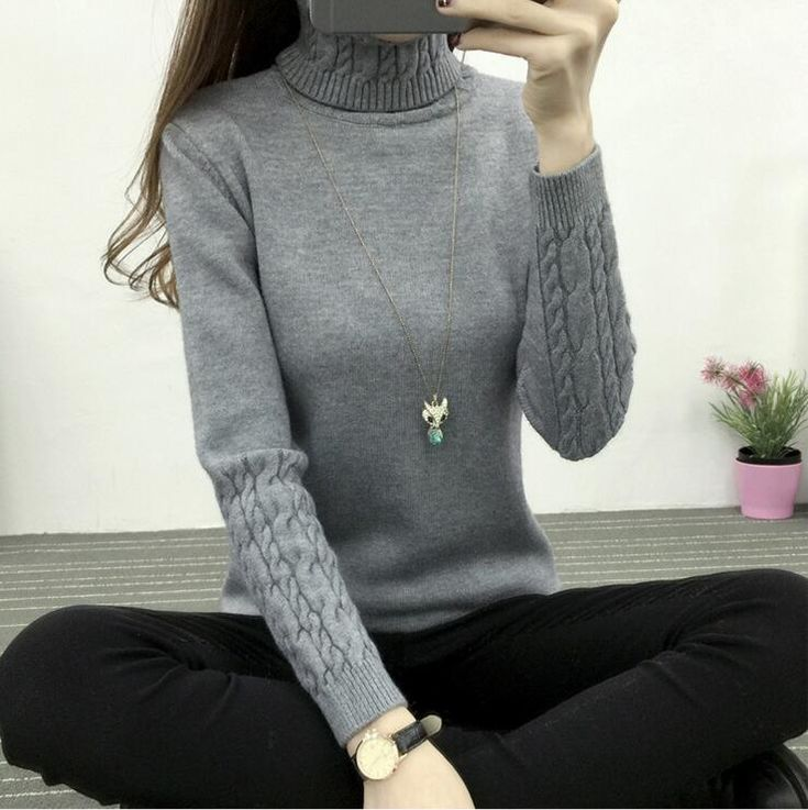 TIGENA Turtleneck Long Sleeve Women Sweaters And Pullovers - Black,Gray,green,Khaki,L,long sleeve,M,Pink,pullover,Purple,S,sweater,variable,White,women,XL,Apparels & Clothing,Hot Categories,Sweaters