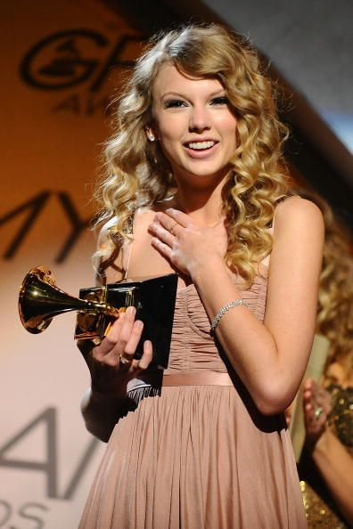 Singer Taylor Swift accepts an award during the 52nd Annual GRAMMY Awards pretelecast held at Staples Center on January 31 2010 in Los Angeles...
