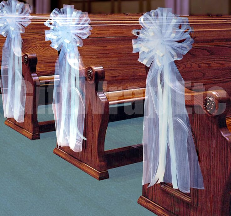 """pew decorations... why don't I know how to make bows?  10 Large White 11"""" Tulle Ribbon Bows Wedding Pew Decorations Church Chair. $79.00, via Etsy."""