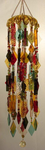 Wind Chimes - Stained Glass Window Art.  I was just contemplating a glass chime yesterday with some of millefiori beads!  Inspiration!