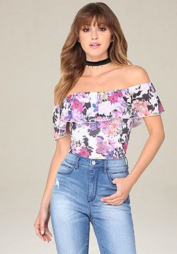 bebe Print Off Shoulder Bodysuit
