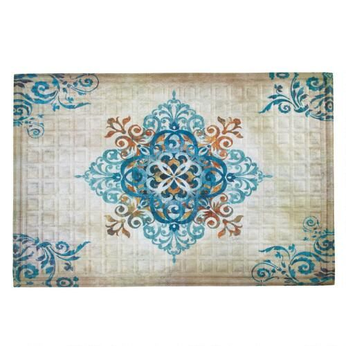One of my favorite discoveries at ChristmasTreeShops.com: Blue Arabesque Oversized Indoor/Outdoor Mat