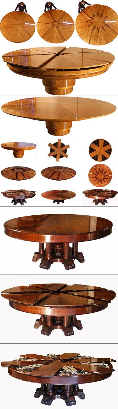 This da Vinci-like table table is based on a design patented in 1835. Just turning the table one quarter of a rotation will double its surface area. Its operation is simple and beautiful--Everything about this table is easy, except its cost ($50,000) and its construction, which takes many months.
